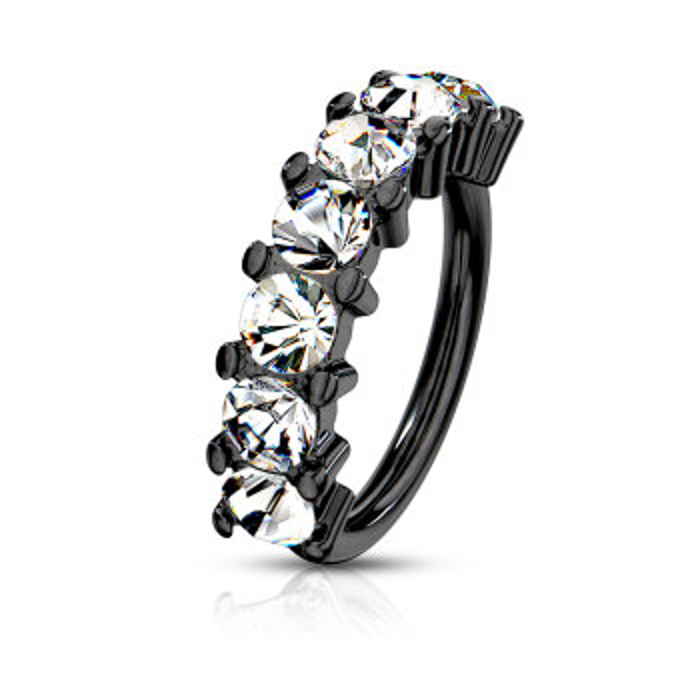 Ohrring biegbar - 7 Kristalle 1,2 mm Black CC