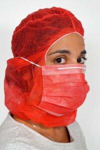 Astronautenhaube mit Mundschutz - mit Haube - Rot