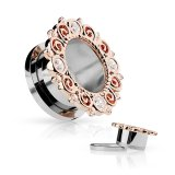 Steel tunnel with floral rose gold decoration