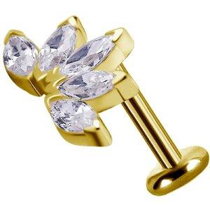 Solid Gold 18K - Labret - flower fan