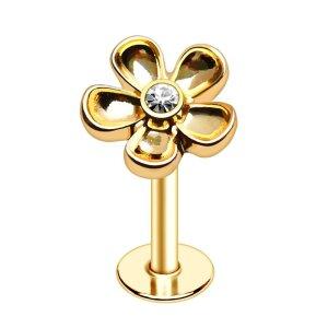 Steel - Labret - flower with crystal - gold steel