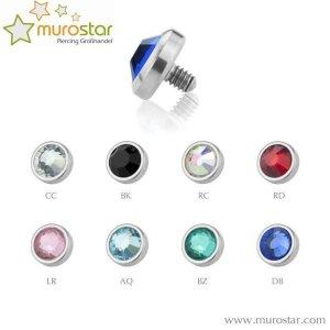 3,5 mm - CC - Crystal Clear/ Kristallklar - Titan - Dermal Anchor Flat-Disc - Kristall - 1,2 mm
